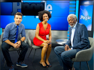 I host a daily, live-streaming celebrity news show on the web called People Now. Here I am with my co-host Jeremy and my bff Morgan Freeman